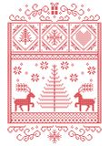 Elegant Christmas Scandinavian, Nordic style winter stitching, pattern including snowflakes, hearts,present, star, Christmas tree. Reindeer and decorative Royalty Free Stock Photo