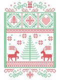 Elegant Christmas Scandinavian, Nordic style winter stitching, pattern including snowflakes, hearts,present, star, Christmas tree. Reindeer and decorative Stock Photography