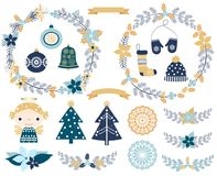 Elegant Christmas set with design elements. Elegant Christmas set with wreaths, snowflake ornaments and festive design elements in blue and gold colors Stock Photography