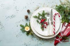 Elegant christmas table setting design top view, flat lay Stock Photos