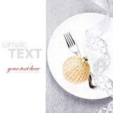 Elegant Christmas table setting with festive decorations on whit Royalty Free Stock Photography