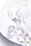 Elegant Christmas table setting with festive decorations on whit Royalty Free Stock Photos