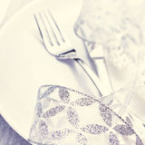 Elegant Christmas table setting with festive decorations on whit Stock Image