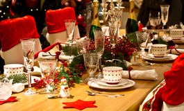 Elegant Christmas table setting in red Stock Photo
