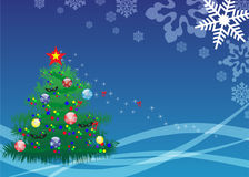 Elegant christmas tree on blue background Stock Photography