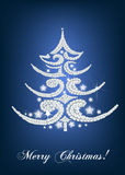 Elegant christmas tree card on blue Royalty Free Stock Photo
