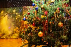 Elegant Christmas tree at the childrens Party stock photography