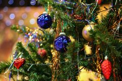 Elegant Christmas tree at the childrens Party stock photo