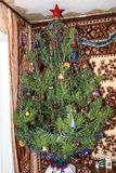 Elegant Christmas tree in the house royalty free stock photography