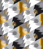Elegant Christmas tree seamless geometry pattern in luxury gray. Colors. gold and white winter fest repeatable motif with snowflakes and trees. vector royalty free illustration