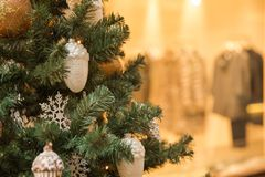 Elegant Christmas tree. In a shopping mall Royalty Free Stock Images