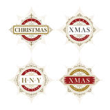 Elegant Christmas vector frame and emblem template set Royalty Free Stock Photos