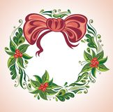 Elegant Christmas wreath with bow Royalty Free Stock Images