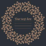 Elegant circle frame with flowers and butterflies Stock Photos