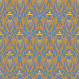 Elegant classic baroque seamless pattern. Blue and gold. Vector illustration Stock Photography