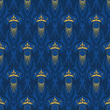 Elegant classic baroque seamless pattern with a crown. Vector illustration Royalty Free Stock Images