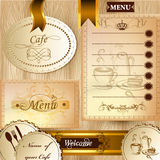 Collection of business elements for cafe and menu design in clas Stock Photo