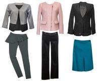 Elegant classic female clothes collage. Woman wear set. Elegant classic female clothes collage. Woman pastel wear set Stock Images