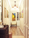 Elegant classic and luxurious hall interior design with beige wa Royalty Free Stock Photography