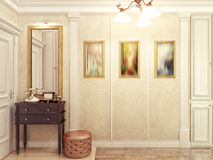 Elegant classic and luxurious hall interior design with beige  Stock Photo
