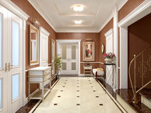 Elegant classic and luxurious hall interior design stock illustration