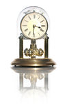 Elegant Clock. Vintage Tabletop Analogue Clock Inside A Glass Case - Isolated With Reflection Stock Photography