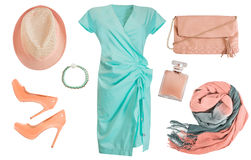 Elegant clothes accessories set. Female clothing collage isolate Stock Image