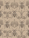 Elegant cockroach wallpaper repeating seamless. Pattern swatch of elegant arabesque scrollwork alternating with creepy crawly cockroaches on ecru beige- totally Stock Photo