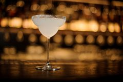 Free Elegant Cocktail Glass Filled With Fresh Margarita Drink Stock Images - 129823134