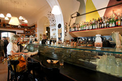 Elegant coffee bar in Rome Royalty Free Stock Photo