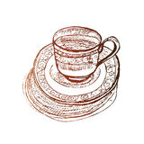 Elegant coffee cup at saucer vector sketch Stock Image