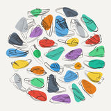 Elegant collage of mens shoes and boots on a colorful spots. Royalty Free Stock Photography