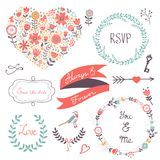 Elegant collection of romantic graphic elements. Ideal for wedding invitations, greeting cards and valentines day cards Stock Images