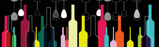 Elegant colorful bottles and glasses illustration Stock Images