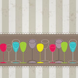 Elegant colorful bottles and glasses illustration Stock Photos
