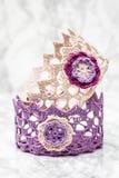 Elegant Colorful Crochet Basket Royalty Free Stock Photo