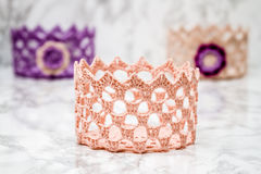 Elegant Colorful Crochet Basket Stock Photos