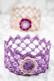 Elegant Colorful Crochet Basket Stock Photo