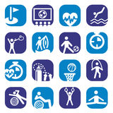 Color fitness icons set Royalty Free Stock Photos