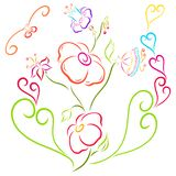 Elegant colorful flowers, hearts and birds.  Royalty Free Stock Image