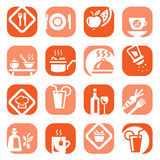 Color food type icon set Royalty Free Stock Images