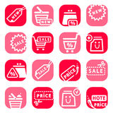 Color online shopping icons Royalty Free Stock Image