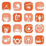 Color restaurant icons Royalty Free Stock Photos