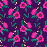 Elegant colorful seamless floral pattern with pink poppies and wild flowers on violet background. Ditsy print. Vector illustration Royalty Free Stock Image