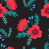 Elegant colorful seamless floral pattern with red poppies and wild flowers on black background. Ditsy print. Vector illustration Royalty Free Stock Photography