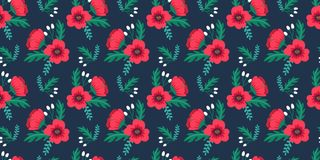 Elegant colorful seamless floral pattern with red poppies and wild flowers on dark background. Ditsy print. Vector illustration Stock Photography