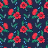 Elegant colorful seamless floral pattern with red poppies and wild flowers on dark background. Ditsy print. Vector illustration Royalty Free Stock Images