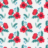 Elegant colorful seamless floral pattern with red poppies and wild flowers on gray background. Ditsy print. Vector illustration Stock Image