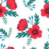 Elegant colorful seamless floral pattern with red poppies and wild flowers on white background. Ditsy print. Vector illustration Stock Photos