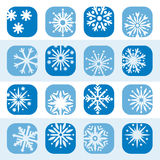 Color snowflake icon set Royalty Free Stock Image